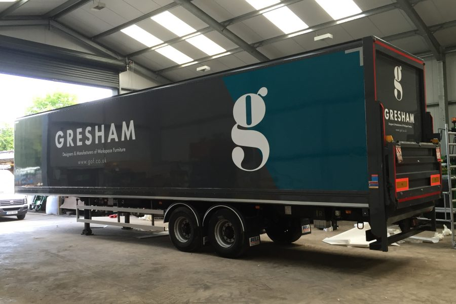 Greshams trailer livery, teal